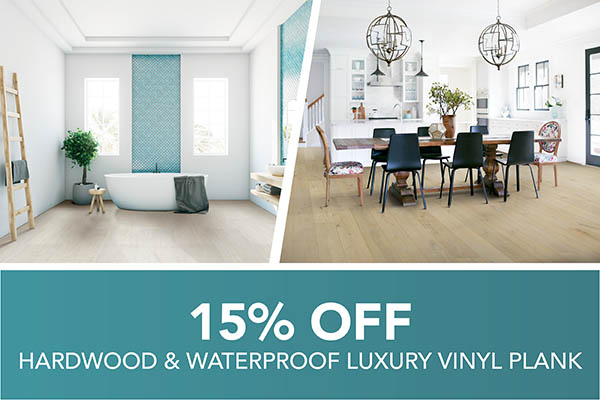 Save 15% on Hardwood and Waterproof Luxury Vinyl Plank Flooring during our sale at Harry's Carpets in Burlingame, CA